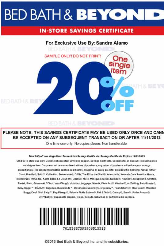20% off a single item printable coupon bed bath and beyond