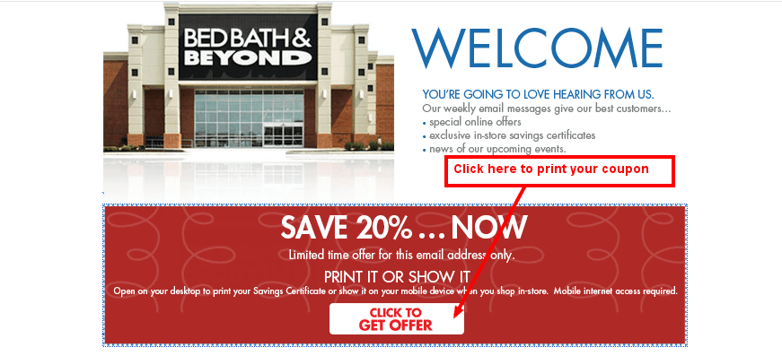 bed bath and beyond coupon email
