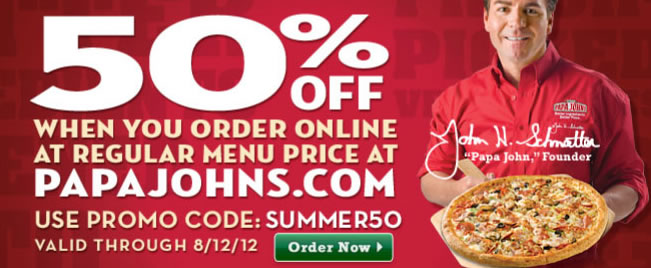 A Papa Johns Coupon: This is an example of a typical 2 for 1 Papa Johns printable coupon. This coupon has expired, but please have a look around our site for the very latest coupons.